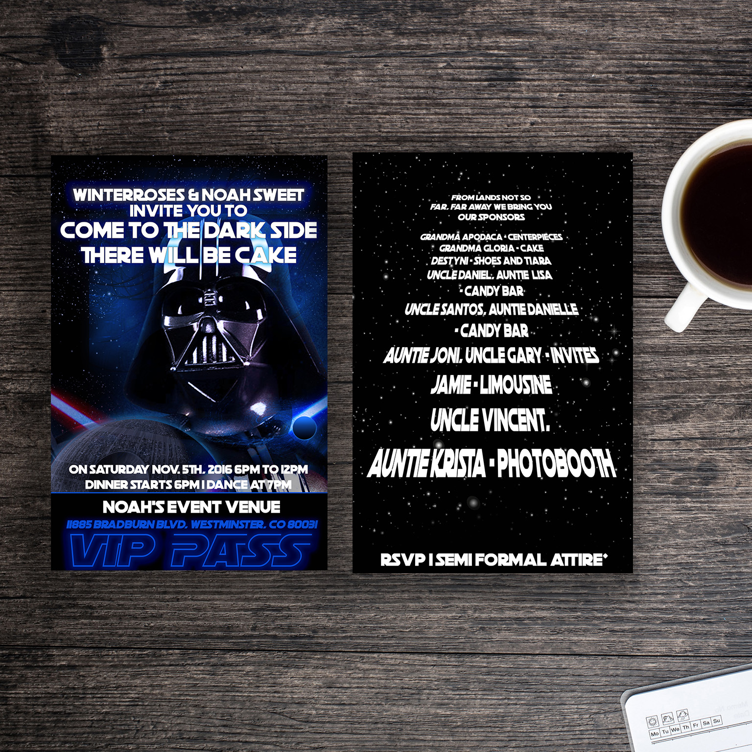 Starwars invitations